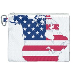 Flag Map Of Canada And United States (american Flag) Canvas Cosmetic Bag (xxl) by goodart