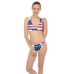 Flag Map Of Canada And United States (american Flag) Classic Banded Bikini Set