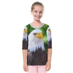 Bald Eagle Kids  Quarter Sleeve Raglan Tee by goodart