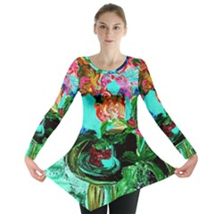Flowers On The Tea Table Long Sleeve Tunic  by bestdesignintheworld