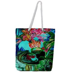 Flowers On The Tea Table Full Print Rope Handle Tote (large) by bestdesignintheworld