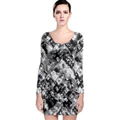 Black And White Patchwork Pattern Long Sleeve Bodycon Dress by dflcprints
