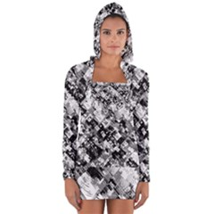 Black And White Patchwork Pattern Long Sleeve Hooded T-shirt by dflcprints