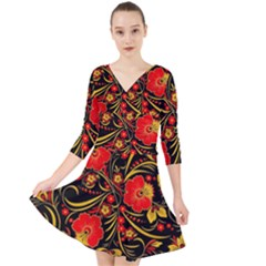 Native Russian Khokhloma Quarter Sleeve Front Wrap Dress