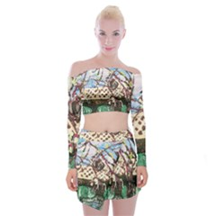 Blooming Tree 2 Off Shoulder Top With Mini Skirt Set by bestdesignintheworld