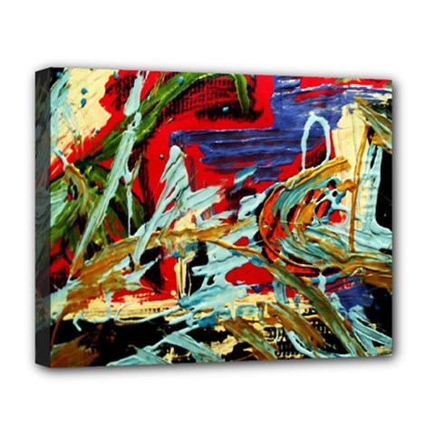 Blue Flamingoes 6 Deluxe Canvas 20  X 16   by bestdesignintheworld