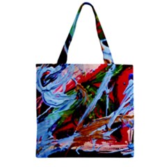 Blue Flamingoes 4 Zipper Grocery Tote Bag by bestdesignintheworld