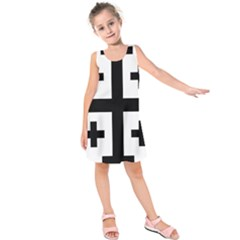 Black Jerusalem Cross  Kids  Sleeveless Dress