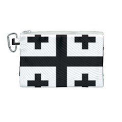 Black Jerusalem Cross  Canvas Cosmetic Bag (medium) by abbeyz71