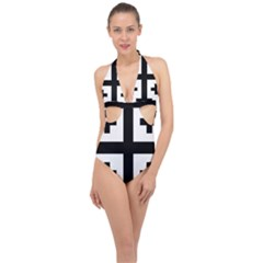 Black Jerusalem Cross  Halter Front Plunge Swimsuit