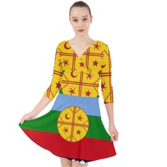 Flag Of The Mapuche People Quarter Sleeve Front Wrap Dress