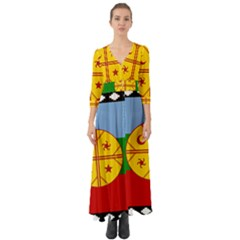 Flag Of The Mapuche People Button Up Boho Maxi Dress by abbeyz71