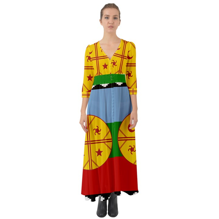 Flag of the Mapuche People Button Up Boho Maxi Dress
