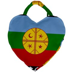 Flag Of The Mapuche People Giant Heart Shaped Tote by abbeyz71