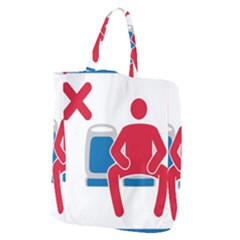 No Manspreading Sign Giant Grocery Zipper Tote by abbeyz71