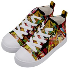 Absurd Theater In And Out Kid s Mid Top Canvas Sneakers by bestdesignintheworld