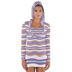 Colorful Wavy Stripes Pattern 7200 Long Sleeve Hooded T-shirt by dflcprints