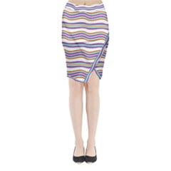 Colorful Wavy Stripes Pattern 7200 Midi Wrap Pencil Skirt