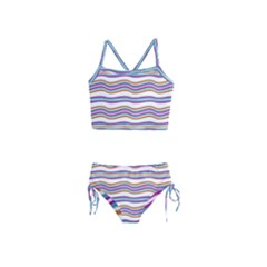 Colorful Wavy Stripes Pattern 7200 Girls  Tankini Swimsuit