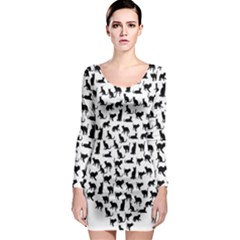 Heart Love Cats Kitten Kitty Long Sleeve Bodycon Dress