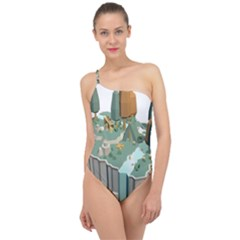 Camping Low Poly 3d Polygons Classic One Shoulder Swimsuit