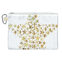 Star Fractal Gold Shiny Metallic Canvas Cosmetic Bag (xl)