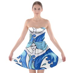 Abstract Colourful Comic Characters Strapless Bra Top Dress by Simbadda