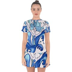 Abstract Colourful Comic Characters Drop Hem Mini Chiffon Dress by Simbadda