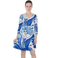 Abstract Colourful Comic Characters Ruffle Dress