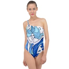 Abstract Colourful Comic Characters Classic One Shoulder Swimsuit