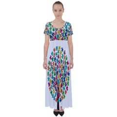 Tree Share Pieces Of The Puzzle High Waist Short Sleeve Maxi Dress