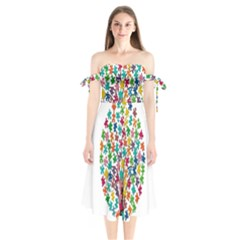 Tree Share Pieces Of The Puzzle Shoulder Tie Bardot Midi Dress