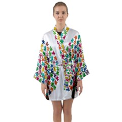 Tree Share Pieces Of The Puzzle Long Sleeve Kimono Robe