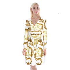 Dragon Animal Beast Creature Long Sleeve Velvet Front Wrap Dress by Simbadda