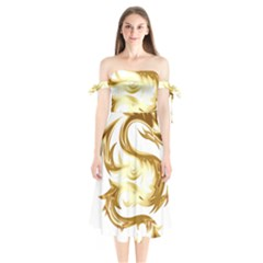 Dragon Animal Beast Creature Shoulder Tie Bardot Midi Dress by Simbadda