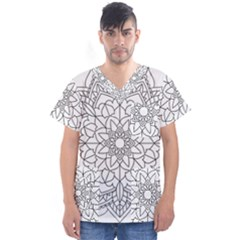 Floral Flower Mandala Decorative Men s V Neck Scrub Top