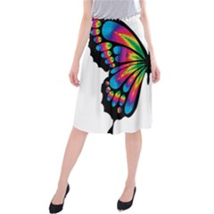 Abstract Animal Art Butterfly Midi Beach Skirt