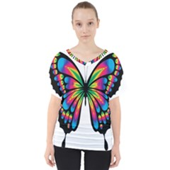 Abstract Animal Art Butterfly V Neck Dolman Drape Top