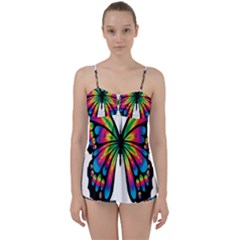Abstract Animal Art Butterfly Babydoll Tankini Set