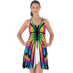 Abstract Animal Art Butterfly Show Some Back Chiffon Dress