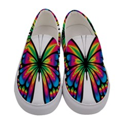 Abstract Animal Art Butterfly Women s Canvas Slip Ons