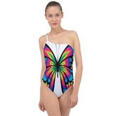 Abstract Animal Art Butterfly Classic One Shoulder Swimsuit
