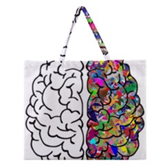 Brain Mind Anatomy Zipper Large Tote Bag by Simbadda