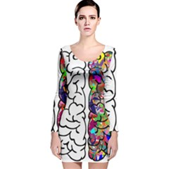 Brain Mind Anatomy Long Sleeve Velvet Bodycon Dress
