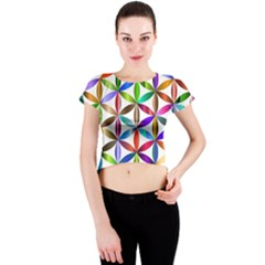 Flower Of Life Sacred Geometry Crew Neck Crop Top