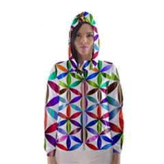 Flower Of Life Sacred Geometry Hooded Wind Breaker (women) by Simbadda