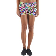 Flower Of Life Sacred Geometry Yoga Shorts