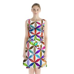 Flower Of Life Sacred Geometry Sleeveless Waist Tie Chiffon Dress
