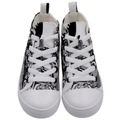 Floral Flourish Decorative Kid s Mid Top Canvas Sneakers