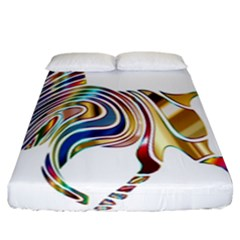 Horse Equine Psychedelic Abstract Fitted Sheet (california King Size)